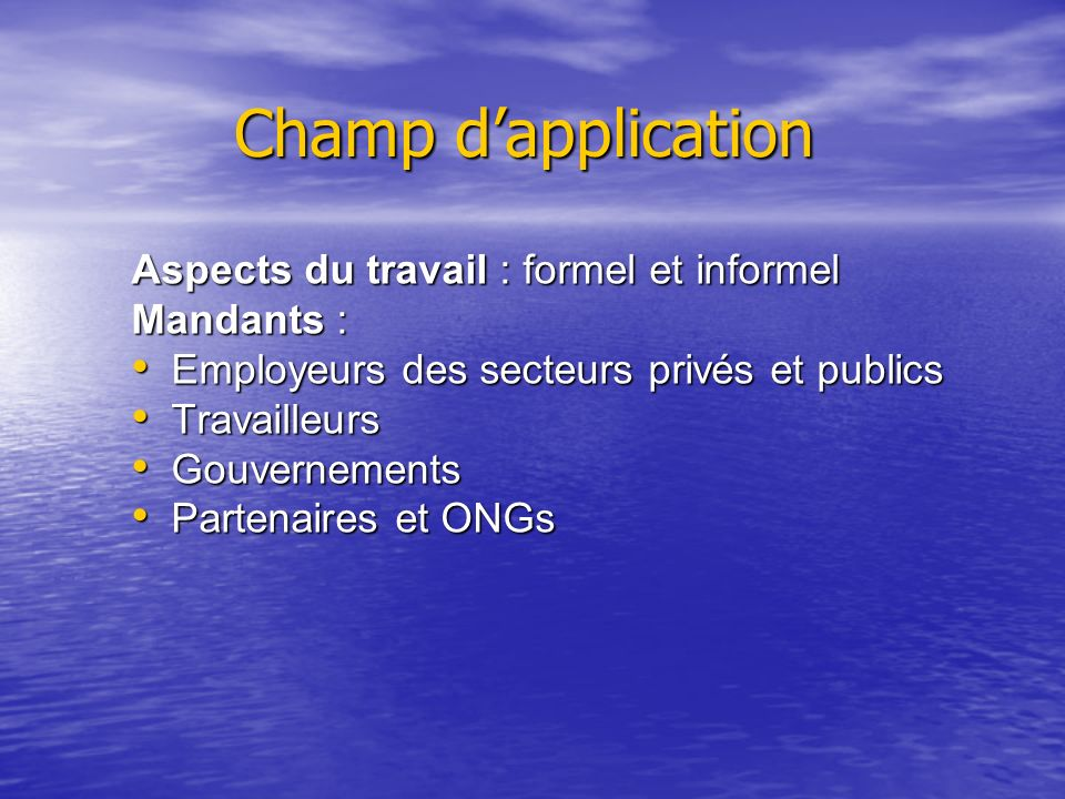 Champ d'application Aspects du travail : formel et informel Mandants :