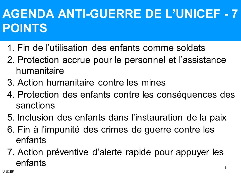 AGENDA ANTI-GUERRE DE L'UNICEF - 7 POINTS