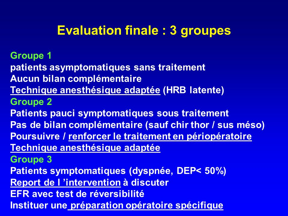 Evaluation finale : 3 groupes