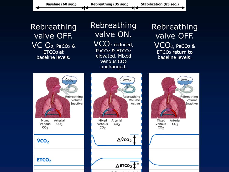 Rebreathing valve OFF. VC O2, PaCO2 & ETCO2 at baseline levels.