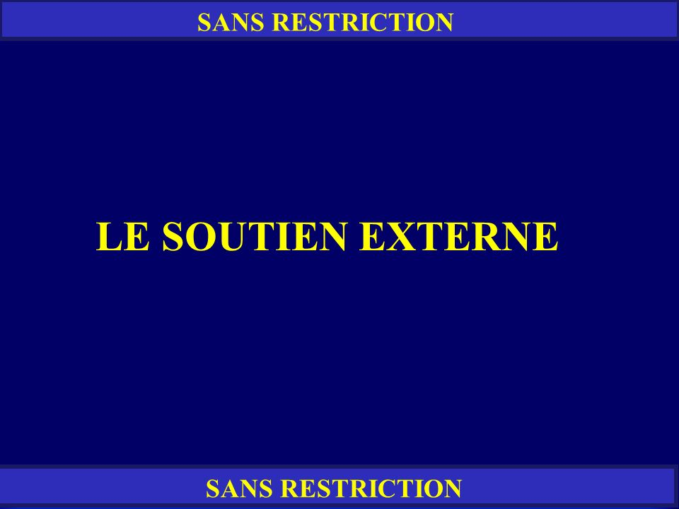 SANS RESTRICTION LE SOUTIEN EXTERNE SANS RESTRICTION