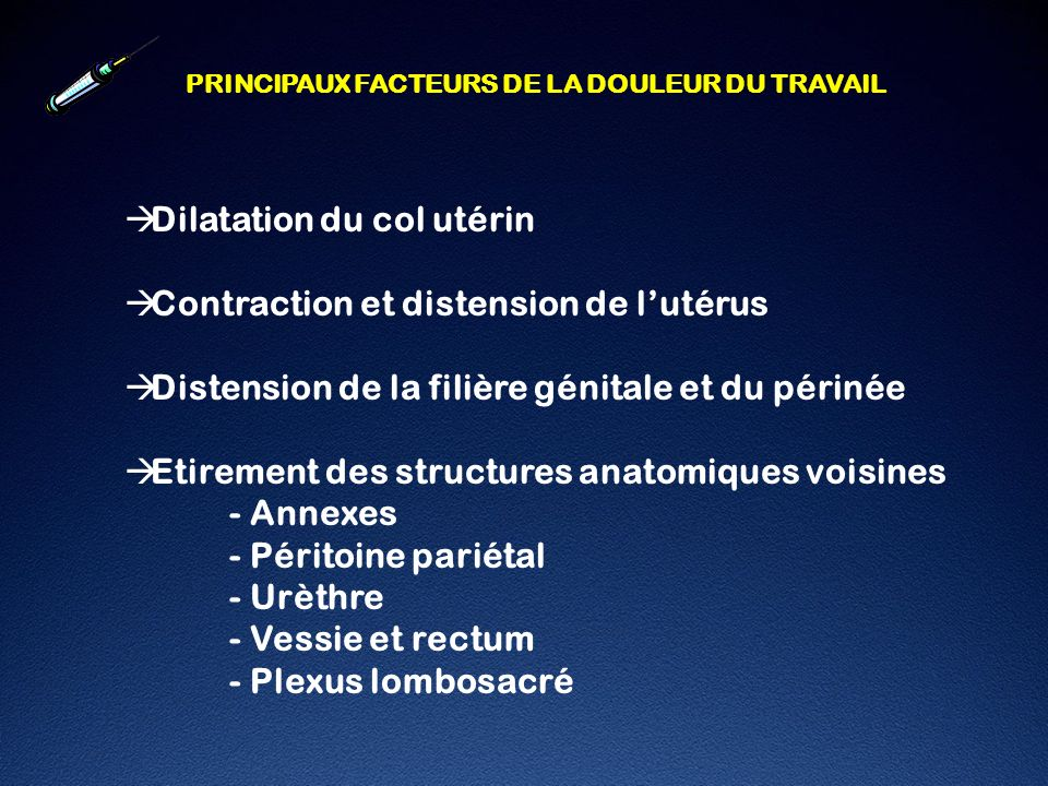 Dilatation du col utérin Contraction et distension de l'utérus