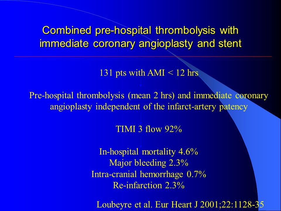 Combined pre-hospital thrombolysis with immediate coronary angioplasty and stent