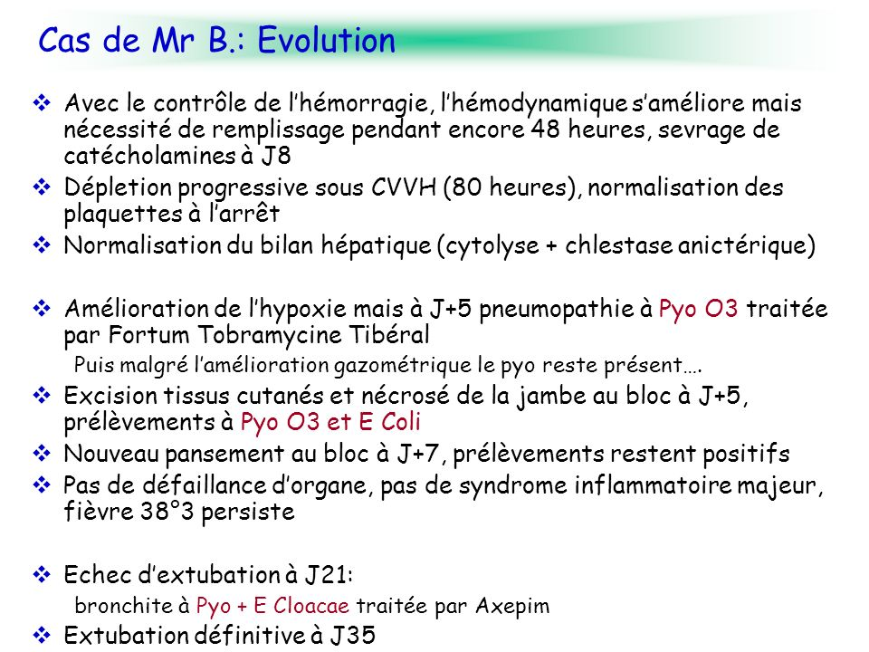 Cas de Mr B.: Evolution