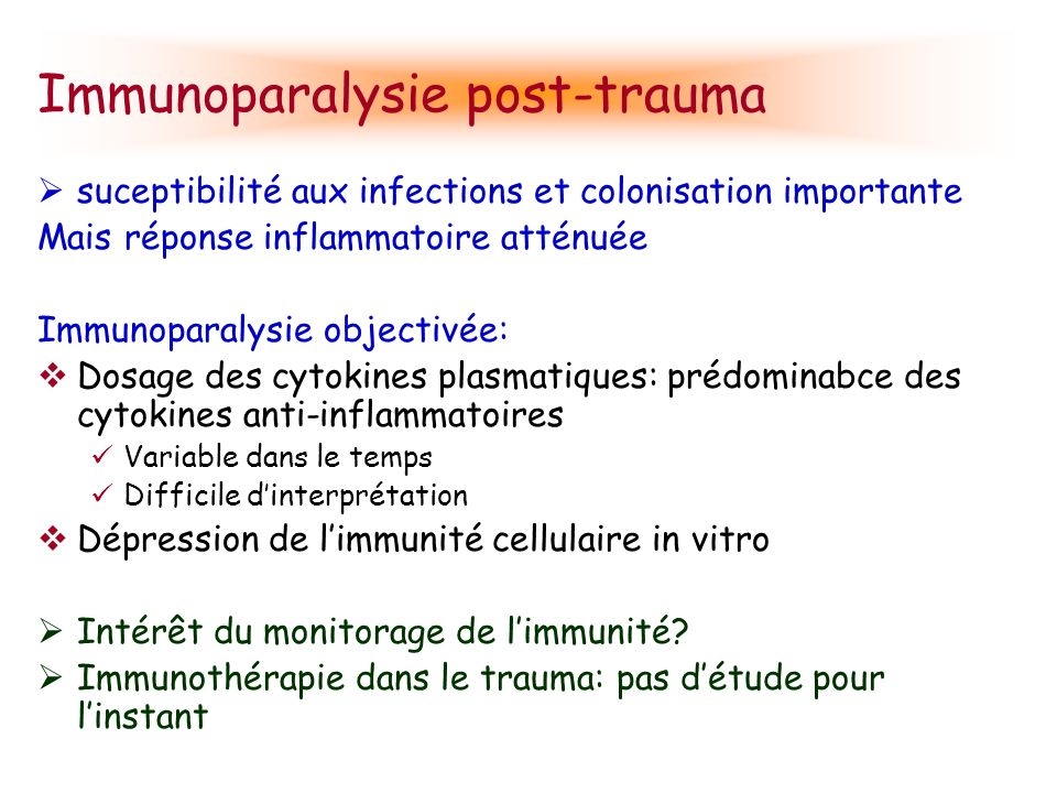 Immunoparalysie post-trauma