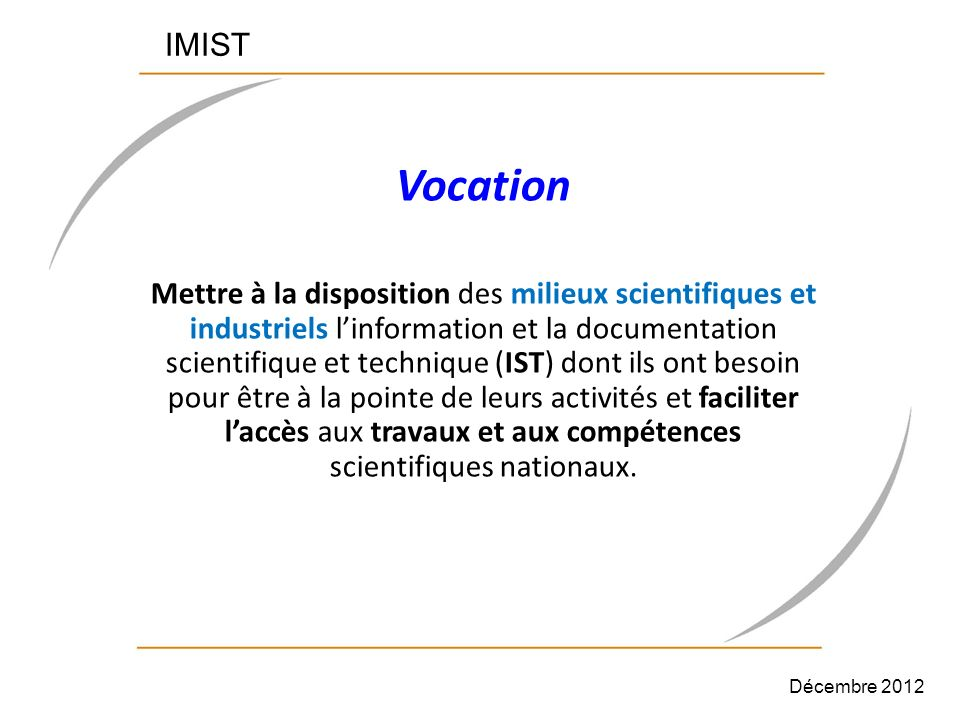 IMIST Vocation.