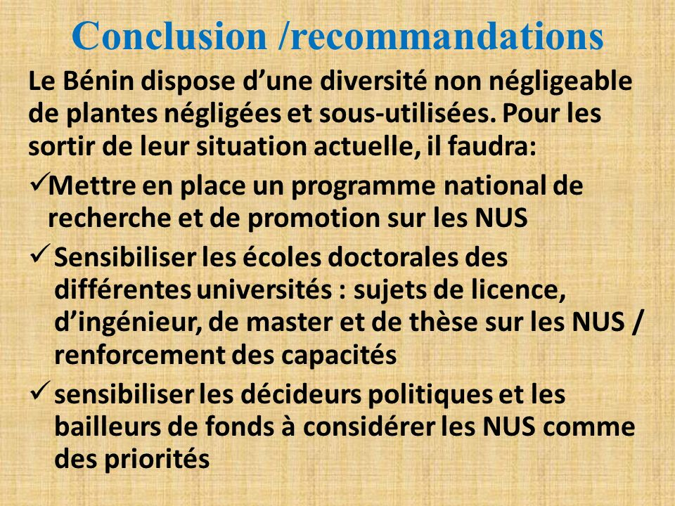 Conclusion /recommandations