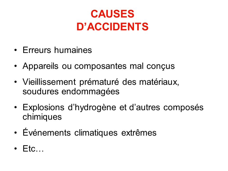 CAUSES D'ACCIDENTS Erreurs humaines