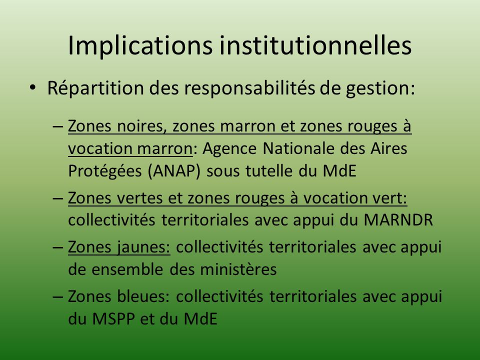 Implications institutionnelles