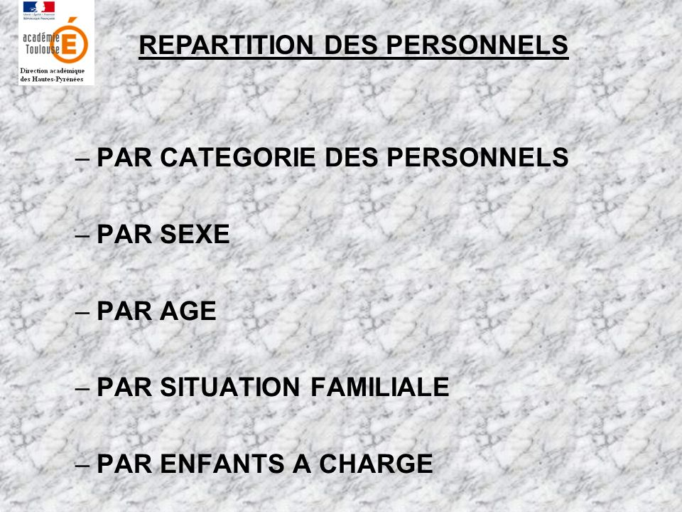REPARTITION DES PERSONNELS