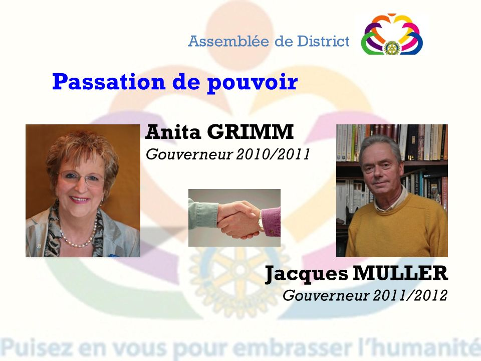 Passation de pouvoir Anita GRIMM Jacques MULLER Assemblée de District