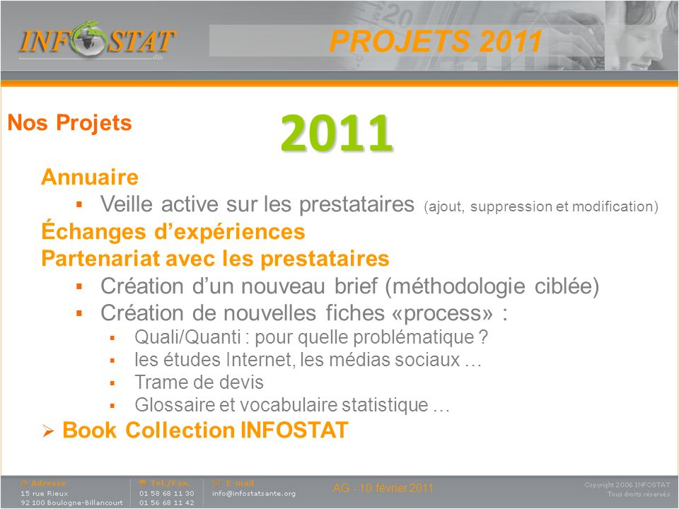 2011 PROJETS 2011 Nos Projets Annuaire