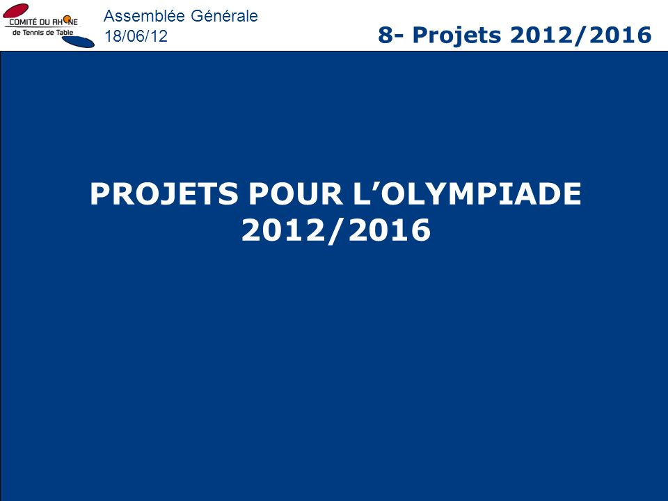 PROJETS POUR L'OLYMPIADE