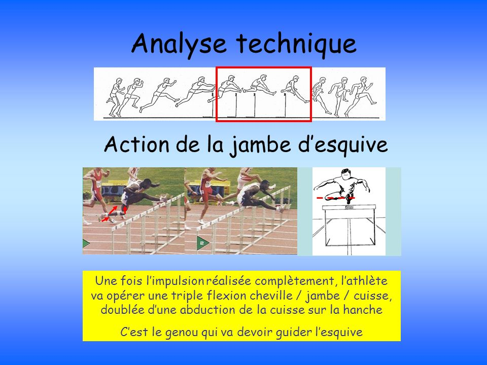Analyse technique Action de la jambe d'esquive