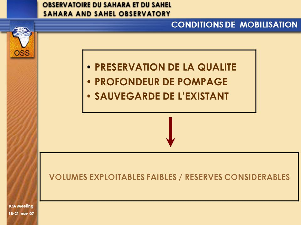 VOLUMES EXPLOITABLES FAIBLES / RESERVES CONSIDERABLES