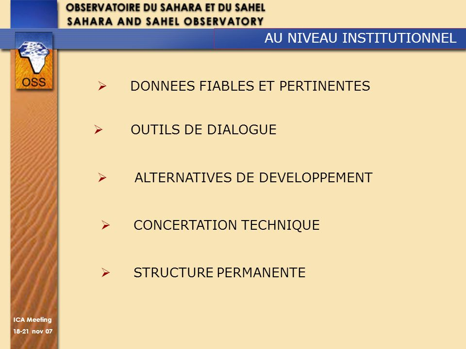 AU NIVEAU INSTITUTIONNEL