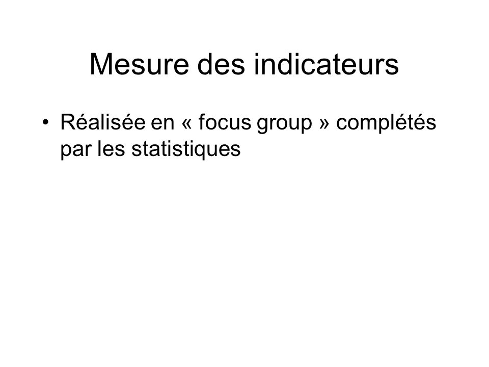 Mesure des indicateurs