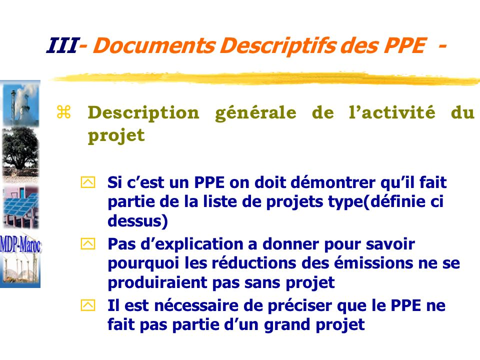 III- Documents Descriptifs des PPE -