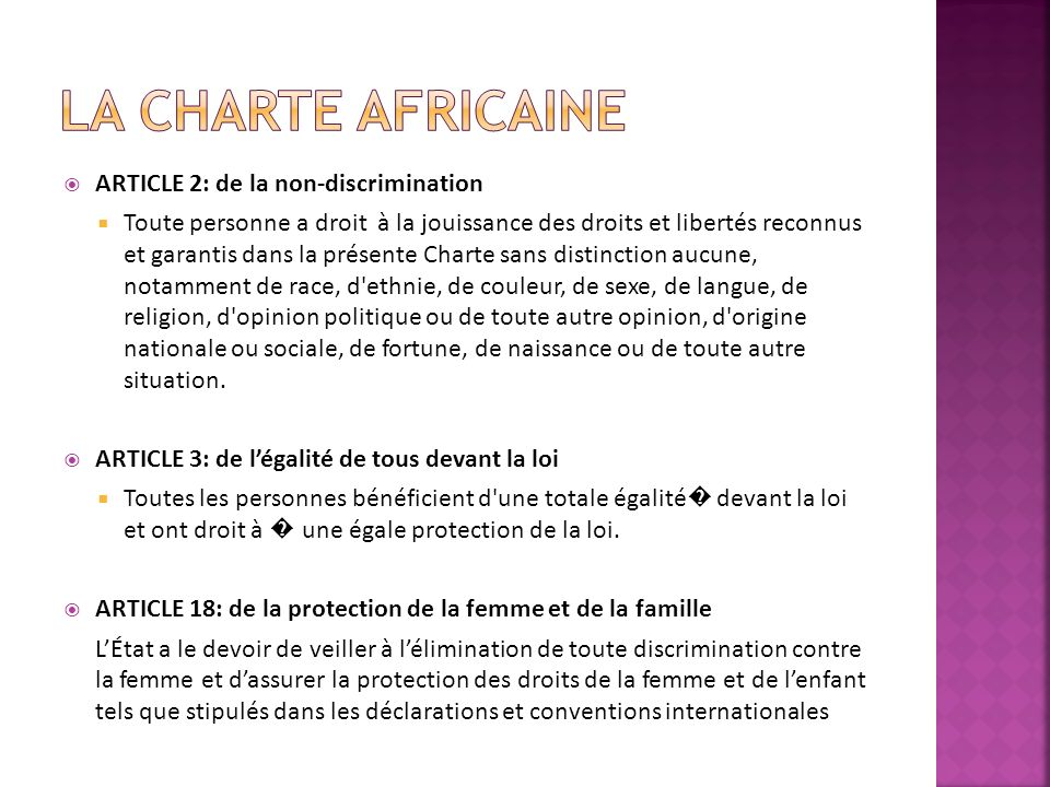 La charte africaine ARTICLE 2: de la non-discrimination