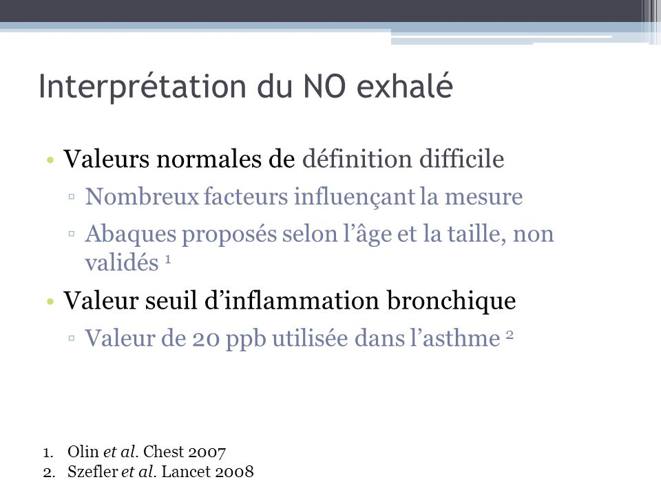 Interprétation du NO exhalé