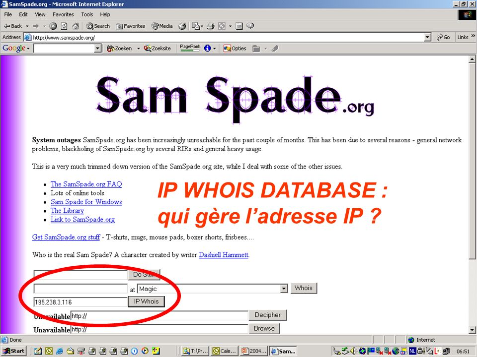IP WHOIS DATABASE : qui gère l'adresse IP