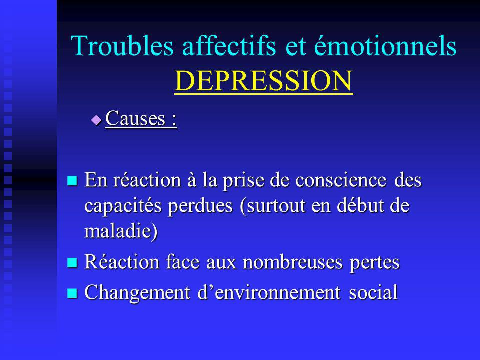 Troubles affectifs et émotionnels DEPRESSION