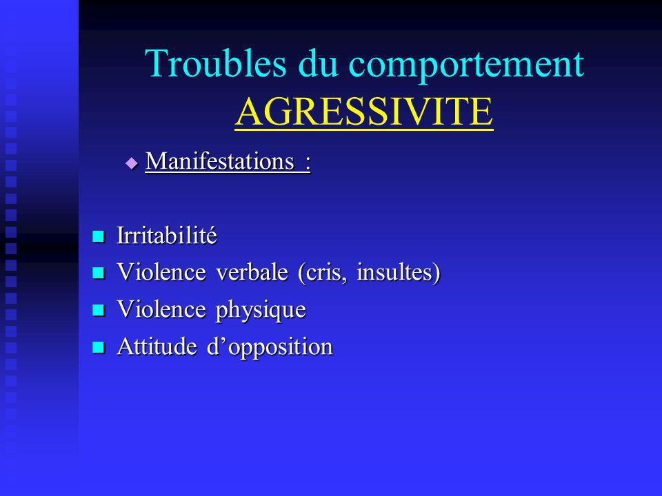 Troubles du comportement AGRESSIVITE