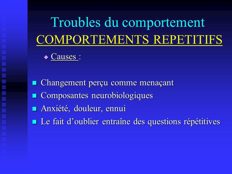 Troubles du comportement COMPORTEMENTS REPETITIFS