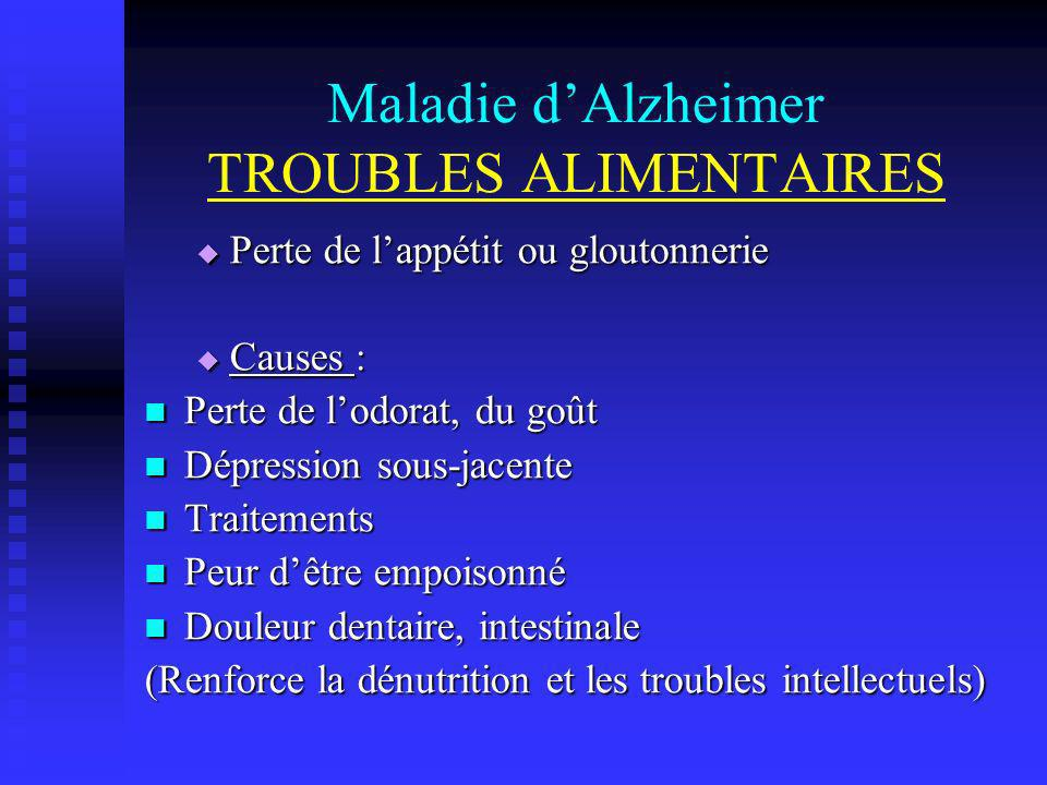 Maladie d'Alzheimer TROUBLES ALIMENTAIRES