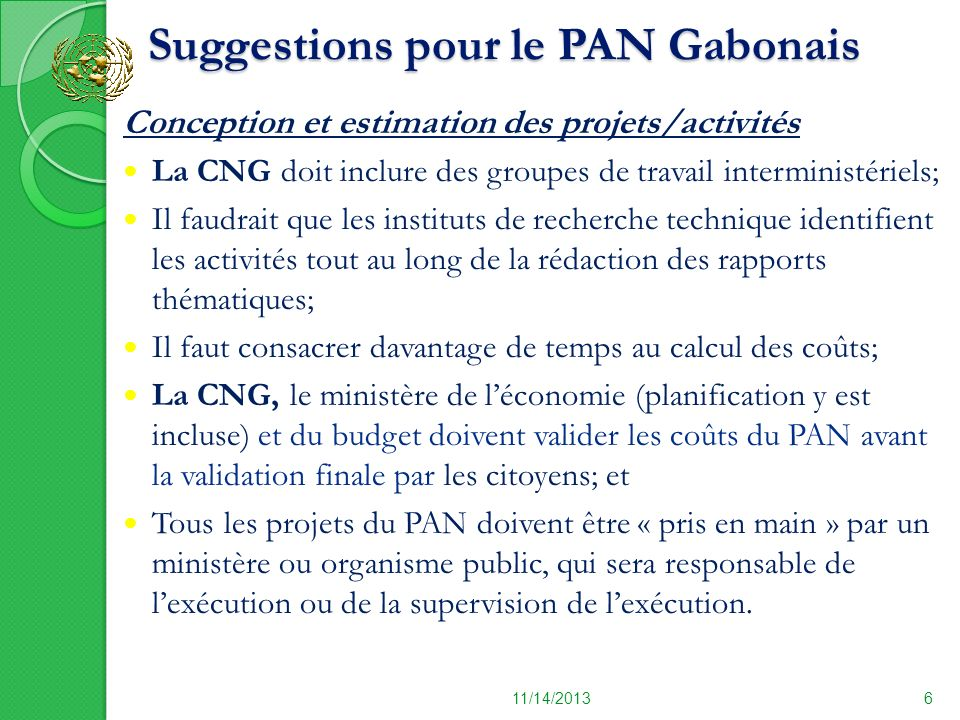Suggestions pour le PAN Gabonais