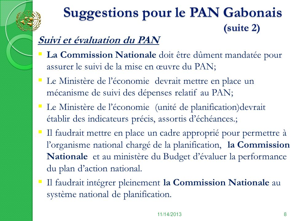 Suggestions pour le PAN Gabonais (suite 2)