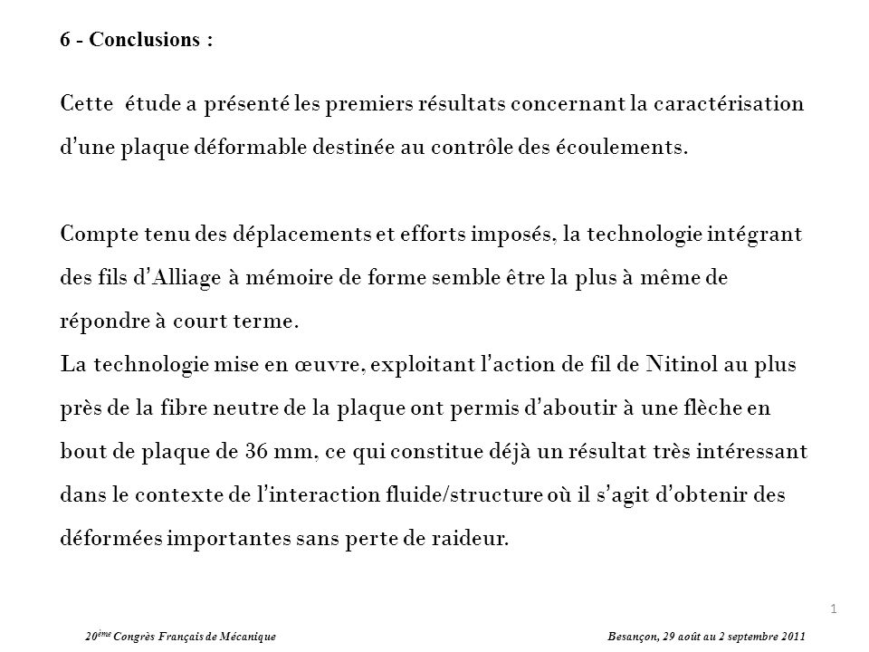 6 - Conclusions :