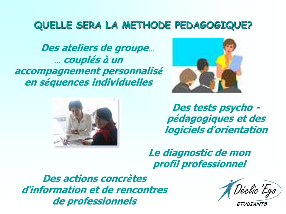 QUELLE SERA LA METHODE PEDAGOGIQUE