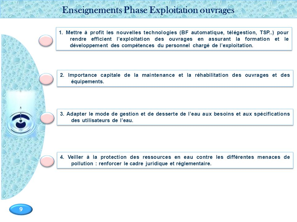 Enseignements Phase Exploitation ouvrages