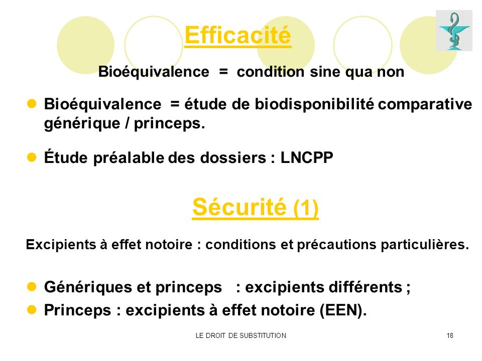 Bioéquivalence = condition sine qua non
