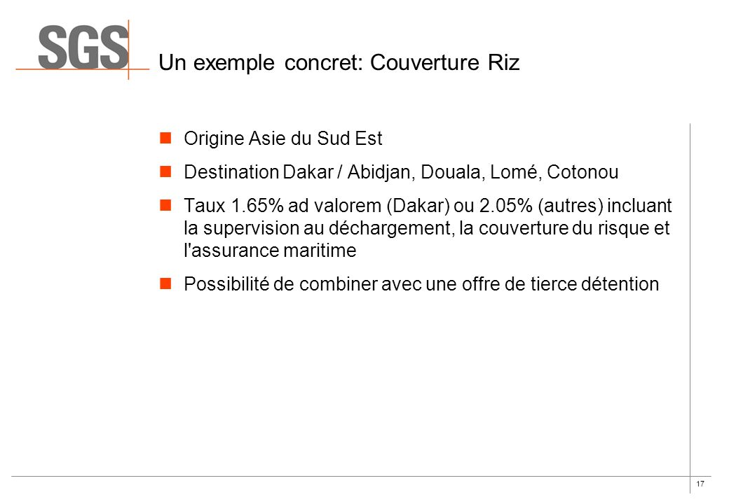 Un exemple concret: Couverture Riz