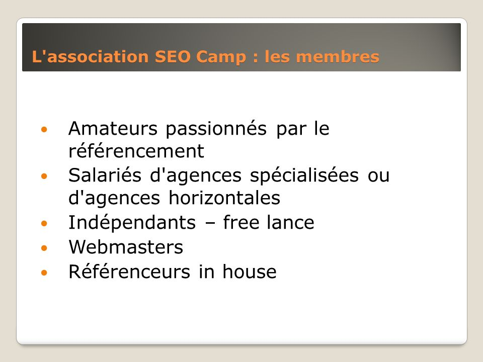 L association SEO Camp : les membres