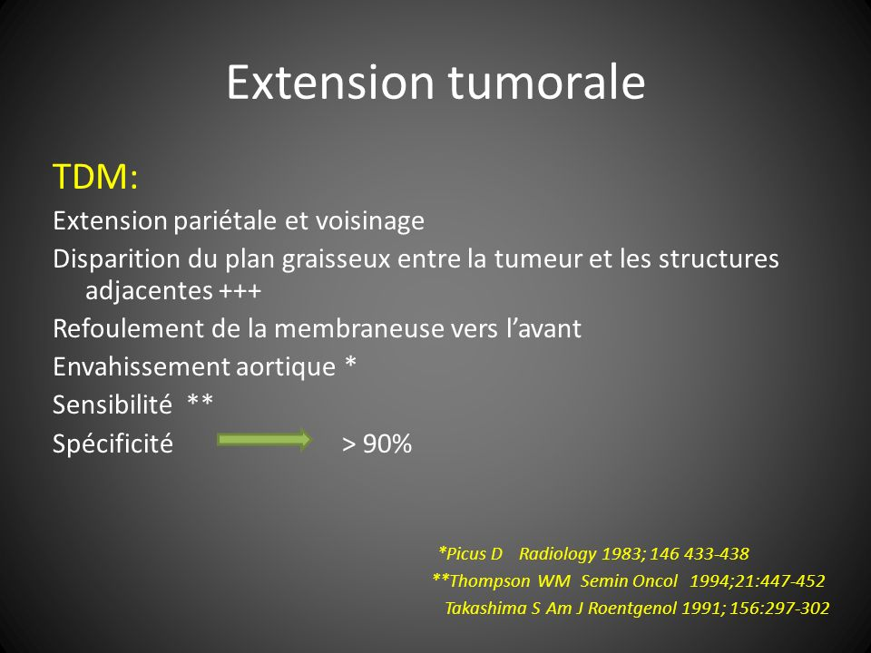 Extension tumorale TDM: Extension pariétale et voisinage