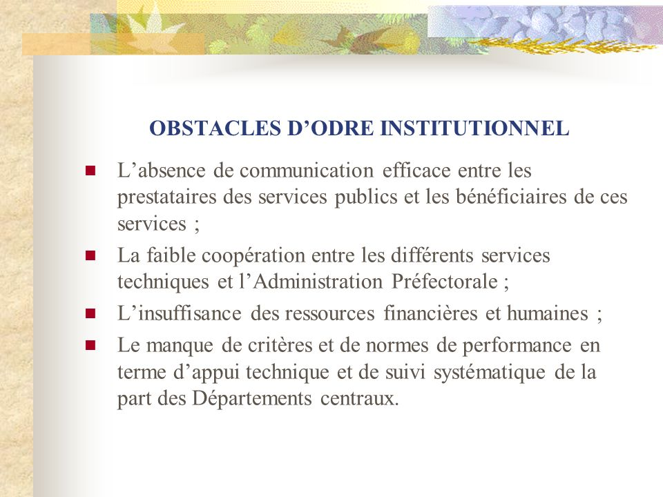 OBSTACLES D'ODRE INSTITUTIONNEL