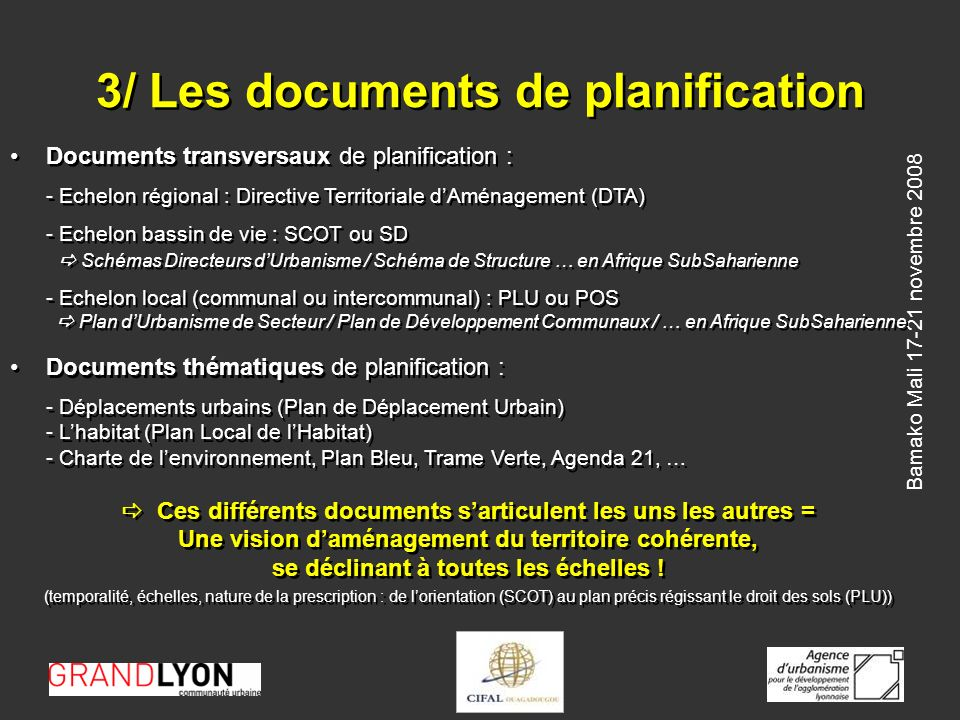 3/ Les documents de planification