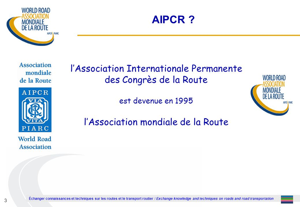 1 AIPCR . l'Association Internationale Permanente des Congrès de la Route.