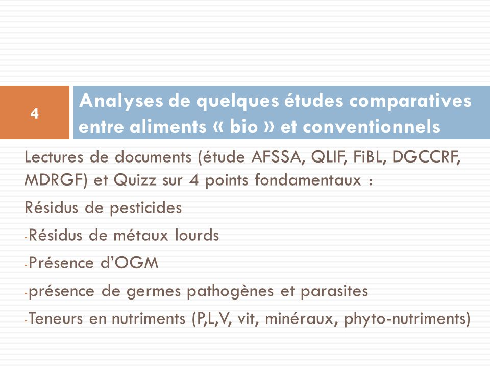 Analyses de quelques études comparatives entre aliments « bio » et conventionnels