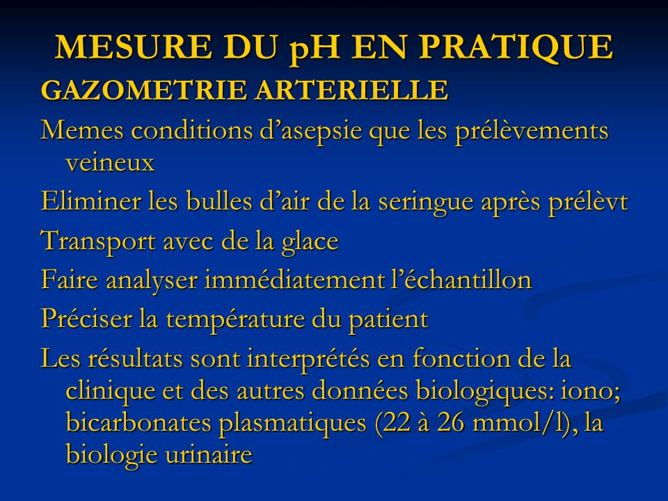 MESURE DU pH EN PRATIQUE