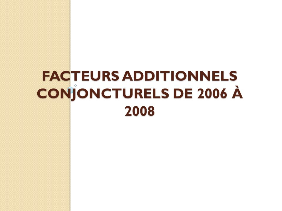 Facteurs additionnels conjoncturels de 2006 à 2008