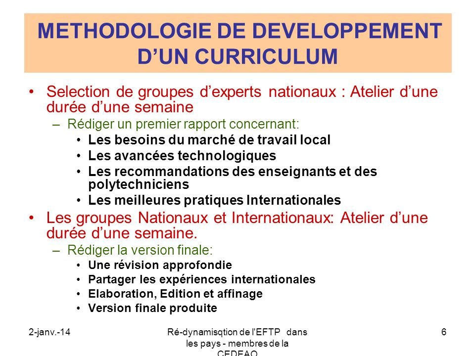 METHODOLOGIE DE DEVELOPPEMENT D'UN CURRICULUM