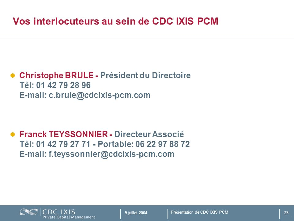 Vos interlocuteurs au sein de CDC IXIS PCM