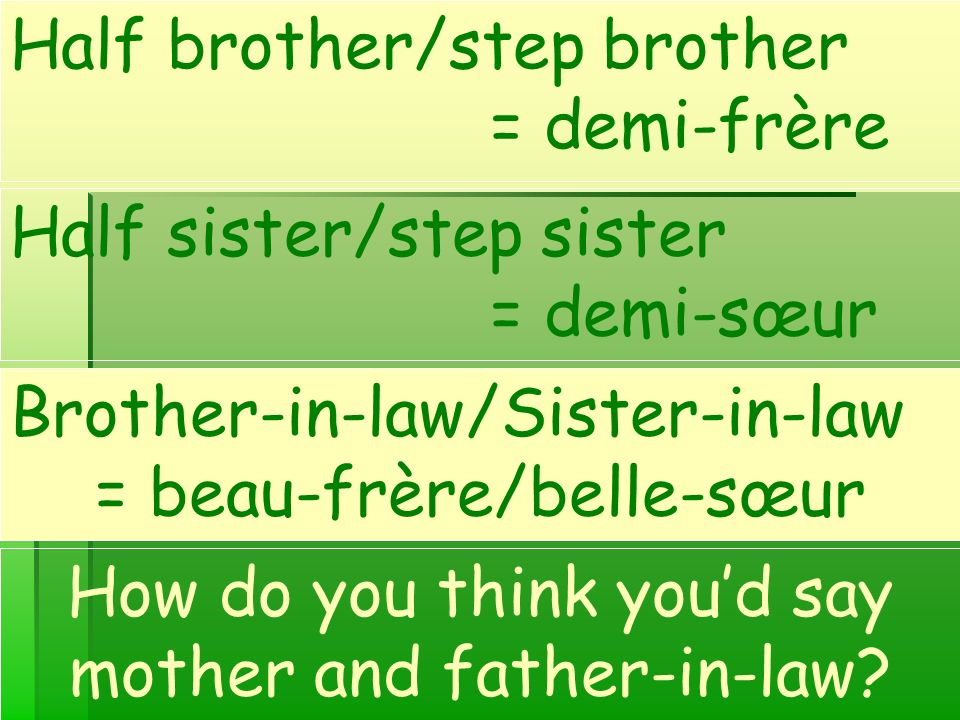 Half brother/step brother = demi-frère