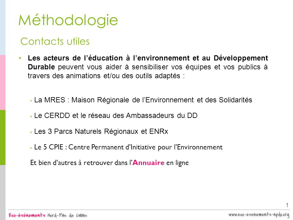 Méthodologie Contacts utiles