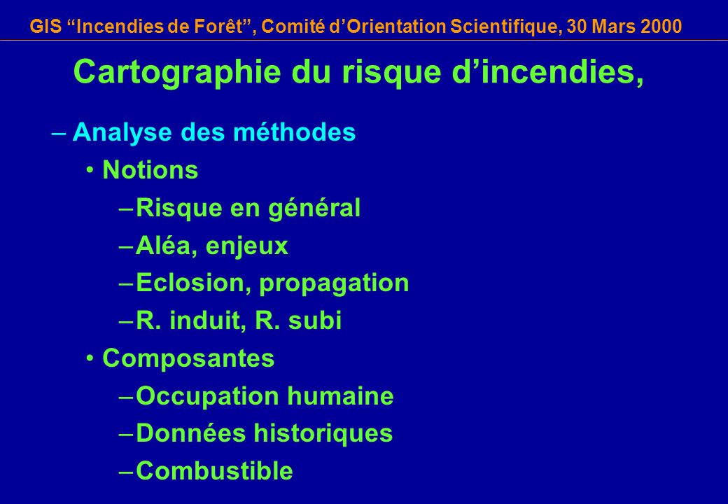 Cartographie du risque d'incendies,