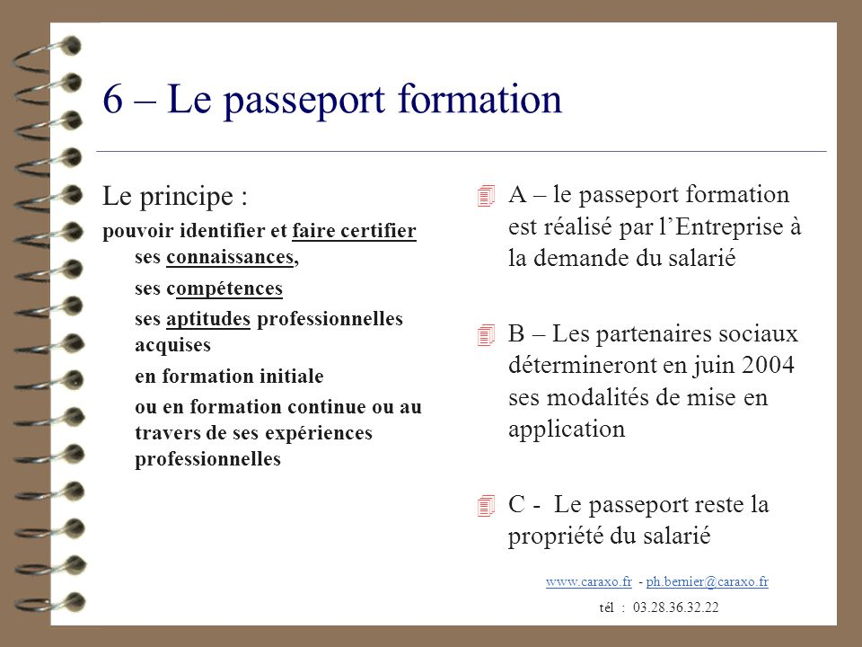 6 – Le passeport formation